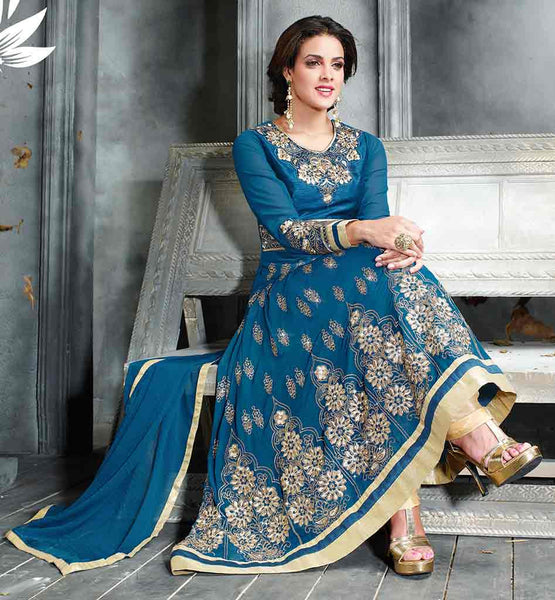 PAKISTANI FASHION SALWAR KAMEEZ ONLINE IN INDIA  STYLISH BLUE COLOR  ANARKALI KAMEEZ WITH CREAM SALWAR AND DUPATTA