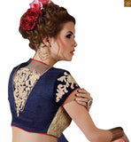 A STYLISH BAZAAR PRESENTATION FASCINATING BLUE AND PEACH COLOURED SAREE WITH BLUE AND PEACH RTAJI1105