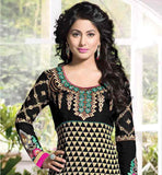 CUTE SALWAR KAMEEZ STYLISH PARTY DRESSES COLLECTION BEIGE AND BLACK MOVIE AND SERIAL STYLE GARMENT FOR INDIAN WOMEN