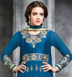 STYLISH BLUE COLOR  ANARKALI KAMEEZ WITH CREAM SALWAR AND DUPATTA GEORGETTE BLUE TOP WITH ZARI RESHAM EMBROIDERY AND BUTTA WORK IN LONG SLEEVES