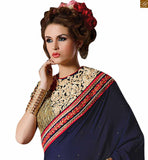 STYLISH BAZAAR INTRODUCES FASCINATING BLUE AND PEACH COLOURED SAREE WITH BLUE AND PEACH RTAJI1105