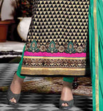 BEIGE AND BLACK MOVIE AND SERIAL STYLE GARMENT FOR INDIAN WOMEN HEENA KHAN CELEBRITY INDIAN DRESSES BOLLYWOOD SALWAR KAMEEZ ONLINE SHOPPING