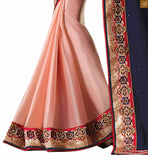 STYLISH BAZAAR  FASCINATING BLUE AND PEACH COLOURED SAREE WITH BLUE AND PEACH RTAJI1105