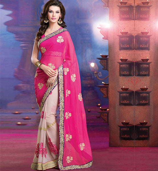 EXCITING PINK & CREAM PARTY WEAR SAREE RTALP11005