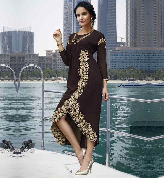 STYLISH TOP DESIGNS EMBROIDERED DESIGNER KURTIS WITH LACES 2015 CHOCOLATE BROWN GEORGETTE KURTIS PATTERNS OF FLORAL EMBROIDERY ON SKIRT PART & LONG SLEEVED DRESS