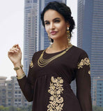 CHOCOLATE BROWN GEORGETTE KURTIS PATTERNS OF FLORAL EMBROIDERY ON SKIRT PART & LONG SLEEVED DRESS.STYLISH, ATTRACTIVE AND MODERN FASHION WEAR FOR YOUNG COLLEGE GIRLS