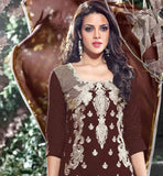 EXCELLENT BROWN COTTON KAMEEZ & DUPATTA WITH OFF WHITE SALWAR
