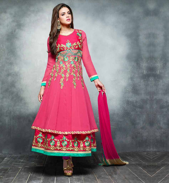 DOUBLE LAYERED SALWAR SUIT ONLINE SHOPPING  GLAMOROUS PINK  LONG ANARKALI STYLE SALWAR KAMEEZ WITH DUPTTA