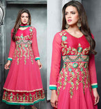 GLAMOROUS PINK  LONG ANARKALI STYLE SALWAR KAMEEZ WITH DUPTTA BE THE PEAK OF YOUR BEAUTY WITH THIS PARTY WEAR ATTIRE PINK COLOR RESHAM EMBROIDERY DRESS IN LATEST DESIGNER SUIT