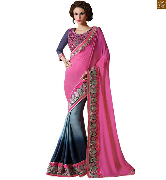STYLISH BAZAAR  DAZZLING PINK AND BLUE SILK GEORGETTE SAREE WITH NET BLUE BLOUSE RTAJI1107