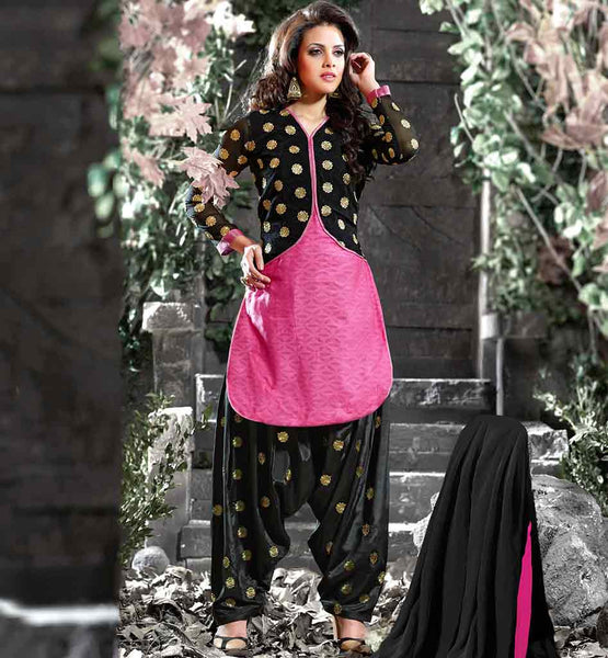 PINK & BLACK JACKET STYLE COTTON SALWAR KAMEEZ PUNJABI SUIT WITH EMBROIDERY PATTERNS ONLINE | PUNJABI SALWAR SUITS WITH JACKETS 2015 BEST PATTERNED DRESS DESIGN