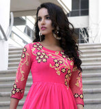 BOLLYWOOD KURTIS DESIGN INSPIRED STYLISH PARTY WEAR DESIGNER TOPS FROCK STYLE LATEST FLORAL PATTERNS OF MACHINE EMBROIDERED ON NEON PINK OUTFIT FOR MOD WOMEN