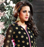 PINK AND BLACK JACKET STYLE COTTON SALWAR KAMEEZ
