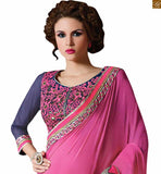 FROM STYLISH BAZAAR DAZZLING PINK AND BLUE SILK GEORGETTE SAREE WITH NET BLUE BLOUSE RTAJI1107