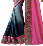 FROM THE HOUSE  OF STYLISH BAZAAR DAZZLING PINK AND BLUE SILK GEORGETTE SAREE WITH NET BLUE BLOUSE RTAJI1107