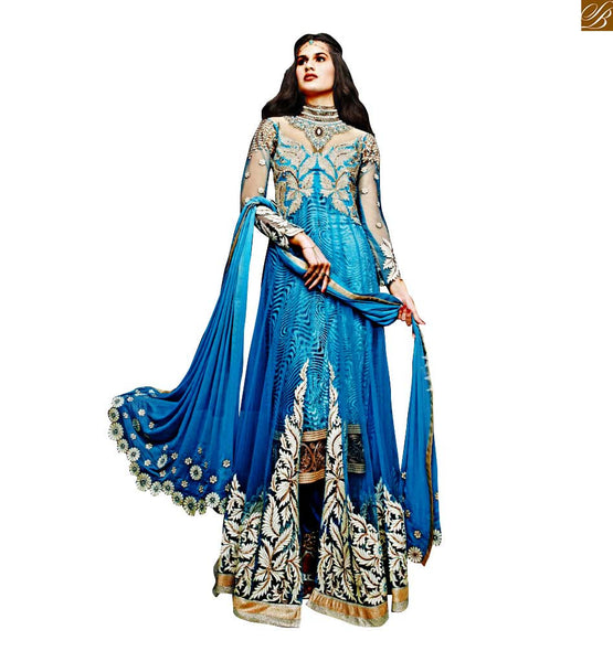ZOYA SAPPHIRE 2 IN 1 ANARKALI SALWAR KAMEEZ SUIT PANT STYLE BOTTOM 11007 FROM STYLISH BAZAAR