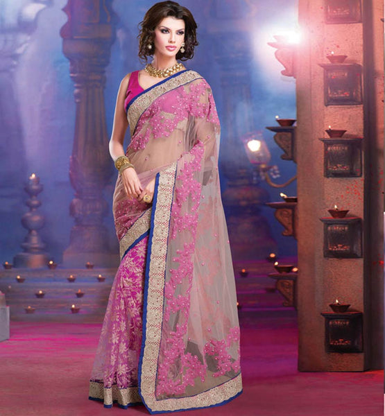 CATCHY CREAM & PINK NET OCCASION WEAR SAREE RTALP11007