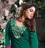 GREEN COTTON KURTI WITH BEIGE SALWAR AND DUAPTTA