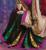OUT-STANDING CREAM & BLACK PARTY WEAR SAREE RTALP11008