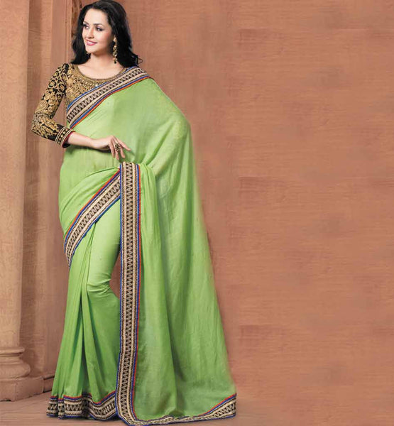 GREEN PARTY WEAR SAREE VDRIW11008