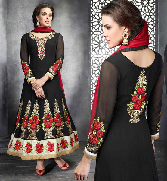 2015 FASHION LATEST DESIGNER SALWAR KAMEEZ RTPKU11009 DESIGNER ANARKALI DRESS WITH PAKISTANI PATTERN AND EMBROIDERY  DESIGNER PARTY WEAR ANARKALI SUIT WITH RED AND BLACK COMBINATION RESHAM EMBROIDERY PATTERN