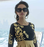 BLACK & GOLDEN DESIGNER EMBROIDERED TRENDY TOP DRESS WITH DIFFERENT STYLE DESIGNER GEORGETTE KURTI WITH EMBROIDERY TO WEAR AT THE PARTIES