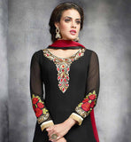 DESIGNER ANARKALI DRESS WITH PAKISTANI PATTERN AND EMBROIDERY  DESIGNER PARTY WEAR ANARKALI SUIT WITH RED AND BLACK COMBINATION RESHAM EMBROIDERY PATTERN