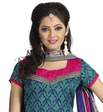 GREEN KURTI WITH PINK SALWAR AND MULTICOLOR DUPATTA