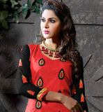 RED COTTON KURTI WITH BLACK SALWAR AND PRINTED DUPATTA