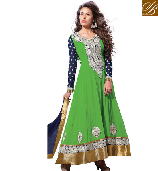 GOOD LOOKING GREEN ANARKALI SALWAR SUIT RTSN11009 - stylishbazaar - online shopping for salwar suits, online shopping for salwar kameez dress, online shopping of salwar kameez, online shopping salwar suits, online shopping of salwar kameez