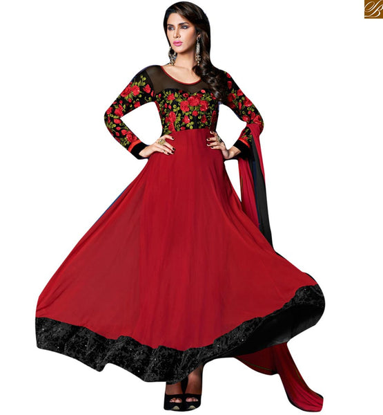 GOOD-LOOKING SMART COMBINATION OF BLACK AND MAROON SIMPLE ANARKALI SALWAR KAMEEZ NECK DESIGNS CATALOGUE TYPE DRESS FOR STYLIST WOMEN    EMBROIDERED FAUX GEORGETTE SALWAR KAMEEZ WITH TWO TONE DUPATTA