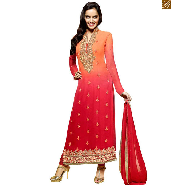 STYLISH BAZAAR SHADED ORANGE AND RED DESIGNER STRAIGHT SALWAR KAMEEZ OF ACTRESS SHAZAHN PADAMSEE ANZAI1101