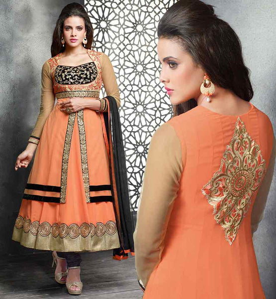 ONLINE SHOPPING DESIGNER SALWAR SUIT WITH ODHNI  ORANGE DESIGNER PARTY WEAR WITH GEORGETTE & NET TOP AND BLACK