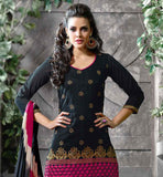 BLACK COTTON KURTI WITH PINK SALWAR AND PRINTED DUPATTA