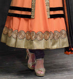 DESIGNER ORANGE COLOR ANARKALI SALWAR SUITS  IN NEW FABULOUS PATTERN  RESHAM EMBROIDERY AND BUTTA WORK ONLINE SHOPPING DESIGNER SALWAR SUIT WITH ODHNI RTPKU11010
