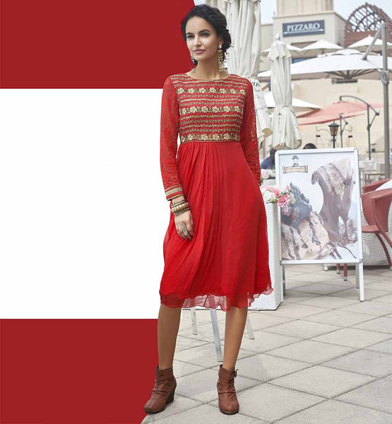 DESIGNER GEORGETTE KURTI WITH STONEWORK TO WEAR AT THE PARTIES RED FUAX GEORGETTE DESIGNER KURTI WITH NICE EMBROIDERED