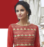 RED FUAX GEORGETTE DESIGNER KURTI WITH NICE EMBROIDERED SMART NECKLINE TUNIC WITH EMBROIDERY FOR FASHION LOVING LADIES