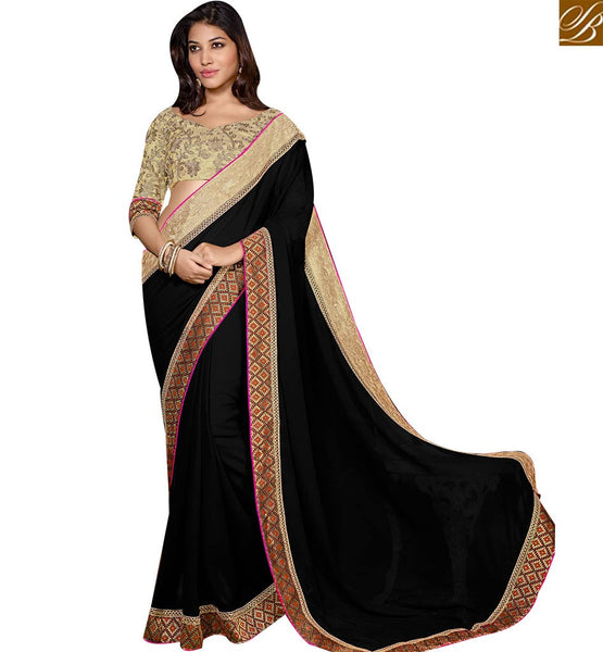 STYLISH BAZAAR DELIGHTFUL EMBROIDERED INDIAN SAREE DESIGN RTSPO11011