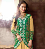 LATEST PARTY WEAR ANARKALI DRESS DESIGN WITH LOVELY KOTI GEORGETTE EMBROIDERED BEIEGE AND GREEN TOP WITH SANTOON BOTTOM
