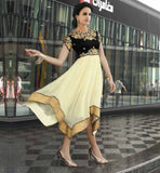DESIGNER KURTIS WITH LACES AND EMBROIDERED NECKLINE CLASSIC CREAM & BLACK FAUX GEORGETTE KURTI  WITH EMBROIDERED