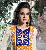OUTSTANDING OFF-WHITE COTTON KURTI WITH YELLOW SALWAR AND DUPATTA