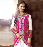 BOLLYWOOD MOVIE STYLE PARTY WEAR KOTI STYLE SALWAR KAMEEZ STUNNING OFF-WHITE AND PINK GEORGETTE-VELVET DRESS WITH NAZNEEN DUPATTA