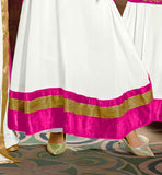 STUNNING OFF-WHITE AND PINK GEORGETTE-VELVET DRESS WITH NAZNEEN DUPATTA ANARKALI DRESS PATTERN 2015 LONG JACKET STYLE