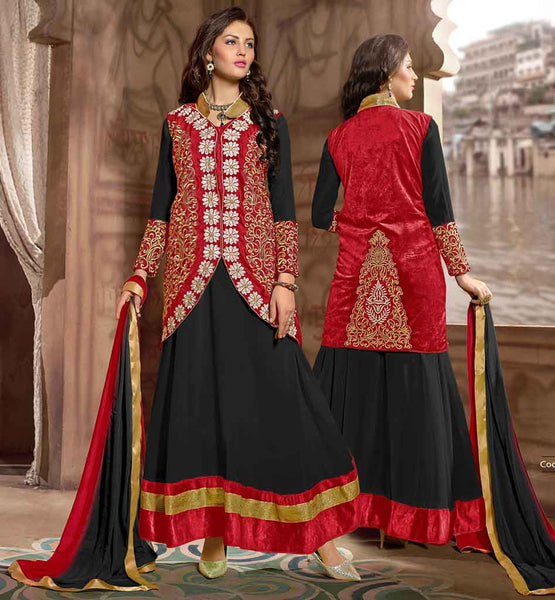INDIAN ANARKALI DRESS LATEST LONG KOTI STYLEPARTY WEAR BLACK DRESS WITH CONTRAST RED JACKET AND DUPATTA