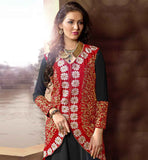 PARTY WEAR BLACK DRESS WITH CONTRAST RED JACKET AND DUPATTAWONDERFUL BLACK-RED GEORGETTE AND VELVET SUIT WITH SANTOON SALWAR