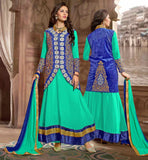 BEAUTIFUL ANARKALI DRESSES WITH STYLISH LONG KOTIGORGEOUS GREEN PARTY WEAR FROCK WITH BLUE JACKET