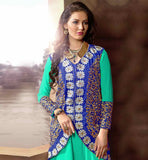 GORGEOUS GREEN PARTY WEAR FROCK WITH BLUE JACKET NEW FASHION GEORGETTE AND VELVET SUIT WITH NAZNEEN DUPATTA