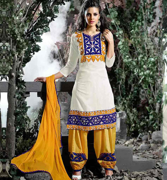 PUNJABI DRESS NECK DESIGNS CATALOG NEW MODEL SALWAR SUIT | OUTSTANDING OFF-WHITE COTTON KURTI WITH YELLOW SALWAR AND DUPATTA | FASHIONABLE PUNJABI CLOTH SHOP