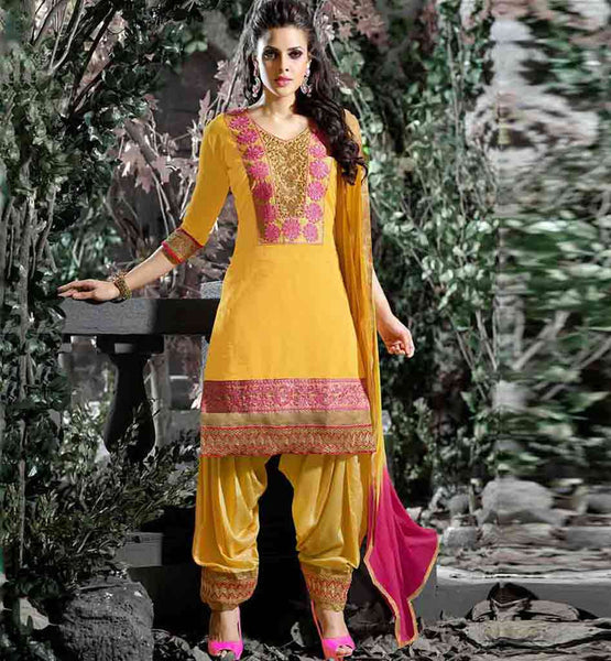 SALWAR KAMEEZ SUITS EMBROIDERY NECK DESIGN PATAILA STYLE BOTTOM