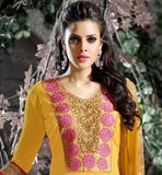 EXCELLENT LOOK YELLOW SALWAR KAMEEZ WITH SHADED DUAPTTA